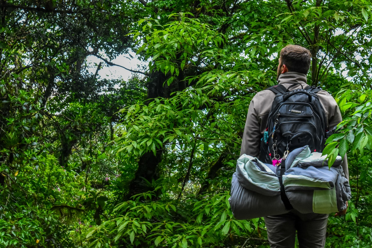 Person går igennem skov med udstyr
