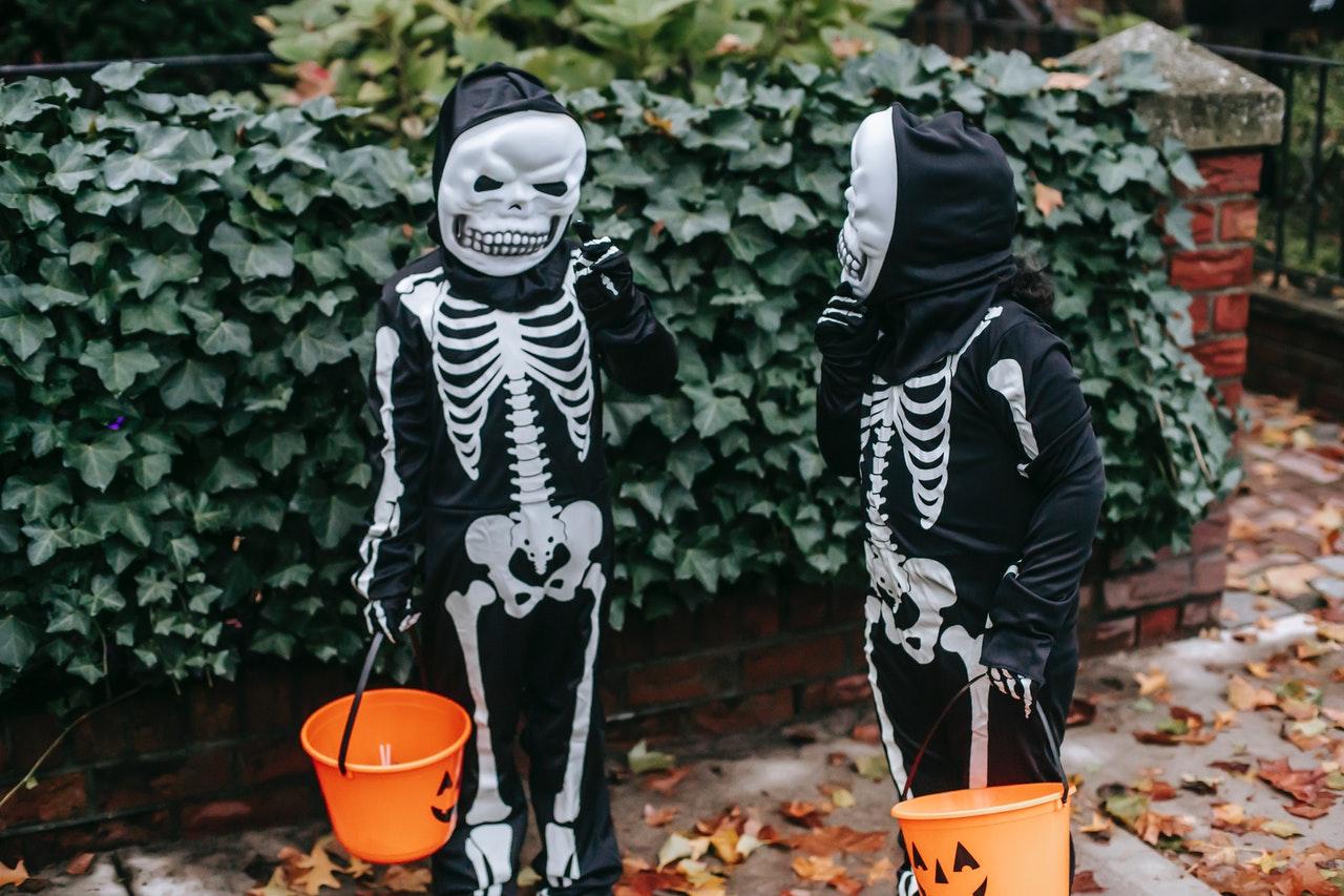 To børn er klædt ud som skeletter